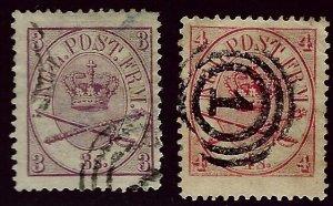 Denmark SC#12 & 13 Used F-VF hr SCV$83.00...Worth a Close Look!