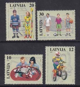 Latvia   #446-449  MNH  1997  children`s activities  tennis  hockey  dirt bike