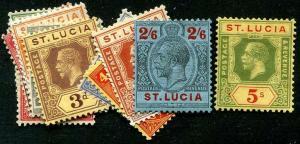 HERRICKSTAMP ST. LUCIA Sc.# 76-89 Less #81 Mint LH Scott Retail $135.00