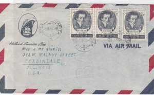 czechoslovakia 1953 holland american line  multi stamps cover ref r10805