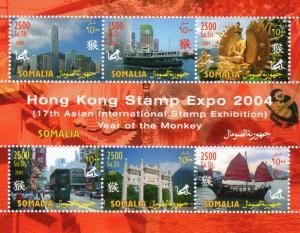 Somalia 2004 YEAR OF THE MONKEY/Hong Kong Stamp Expo Sheetlet (6) Perforated MNH