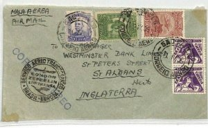 BRAZIL Transatlantic CONDOR ZEPPELIN Cachet Aviation 1935 Cover St Albans CE108
