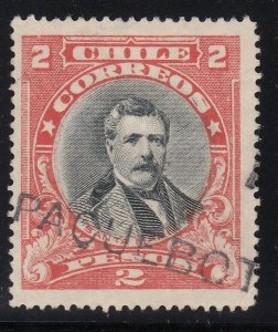 Chile 1915-25 2p Vermillion & Black Used with Paquebot Cancel. Scott 139a