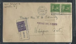 CANADA COVER (PP0811B) 1932 INCOMING COVER FROM US POSTAGE DUE 2C