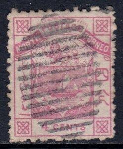 NORTH BORNEO — SCOTT 2 (SG 6) — 1884 4c ARMS ISSUE P12 — USED — SCV $60