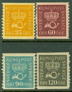 EDW1949SELL : SWEDEN 1920-34 Scott #145, 148, 152, 156 VF, Mint OG. Catalog $181