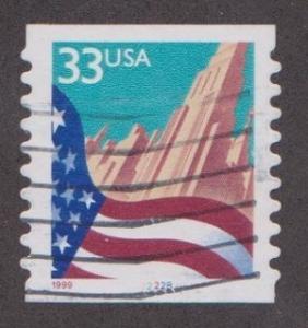 US #3281 Flag over City Used PNC Single plate #2222B