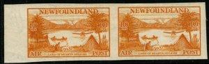 NEWFOUNDLAND SG231a 1933 10c ORANGE-YELLOW IMPERF PAIR MNH
