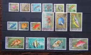 Tanzania 1967 - 1973 Fish set complete to 20s Used SG142 - SG157