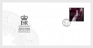 2015  GIBRALTAR - SG. 1651 - QEII - LONGEST REIGNING MONARCH. 22ct Gold ON FDC