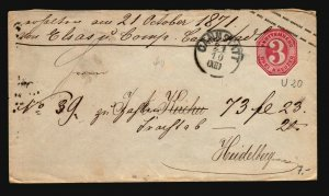 Wurttemberg 1860s Stationery Cover  - Z17142