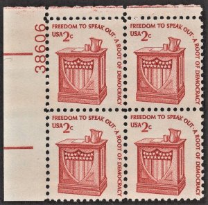 US 1582 MNH VF 2 Cent Speaker's Stand Plate Block # 38606