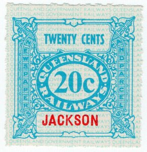 (I.B) Australia - Queensland Railways : Parcel Stamp 20c (Jackson)