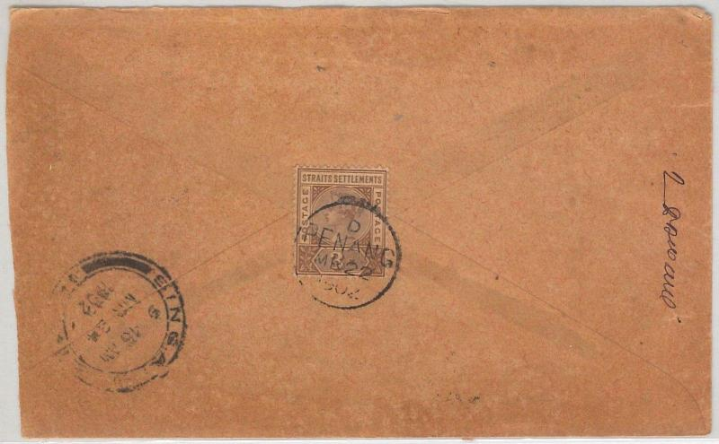 STRAITS SETTLEMENTS -  POSTAL HISTORY -  D PENANG postmark on COVER to SINGAPORE