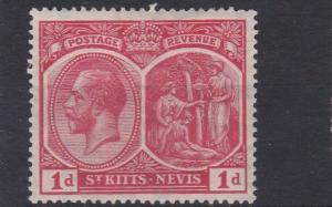 ST KITTS  1921 - 29   S G 38    1D   ROSE CARMINE    MH   NO2