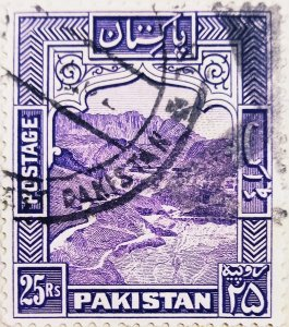 Pakistan:1948:25Rs:greyish violet-General Issue-(Uncommon)