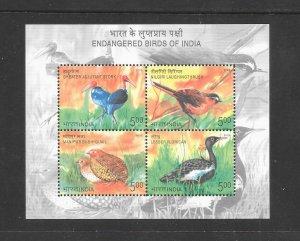 BIRDS- INDIA #2168a  ENDANGERED BIRDS  MNH
