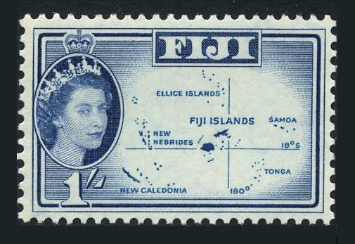 Fiji 171, Mnh.michel 149. Queen Elizabeth Ii.map, 1961