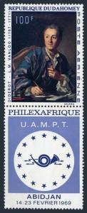 Dahomey C93/label,MNH.Michel 368. PHILEXAFRIQUE-1969.Diderot,by Michel Vantloo.