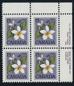Canada 787iii TR Plate Block MNH Canada Violet, Flower