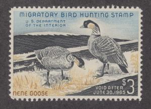 US Sc RW31 MNH. 1964 $3 Hawaiian Nene Goose, Duck Stamp F-VF