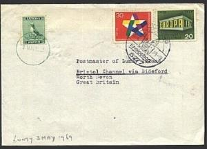 GB LUNDY 1969 inwards cover from GERMANY, 2p added.........................93860