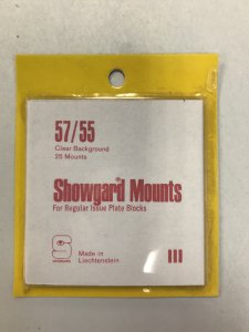 57/55 Showgard Mounts Clear Background - 25 Mounts