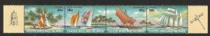 Cocos Islands 1987 sailboats strip of 4  MNH  158