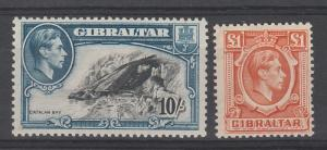 GIBRALTAR 1938 KGVI PICTORIAL 10/- AND 1 POUND TOP VALUES