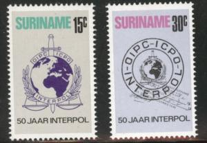 Suriname Scott 406-7 mnh** 1973 INTERPOL set