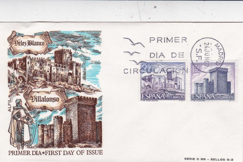 Spain 1969 Spanish Castles 4th Series Set of 3 FDC Unadressed VGC