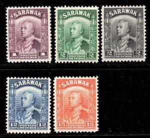 Sarawak 1934 KGV p/set (5v mint