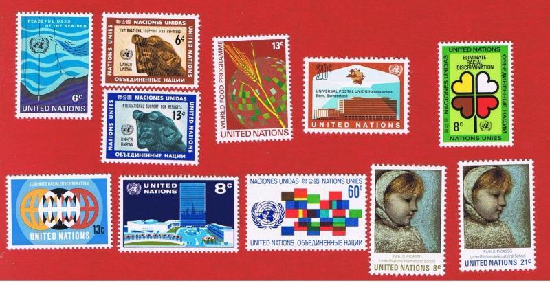 UN NY MVFNH OG  #215-225 1971 complete set  Free S/H