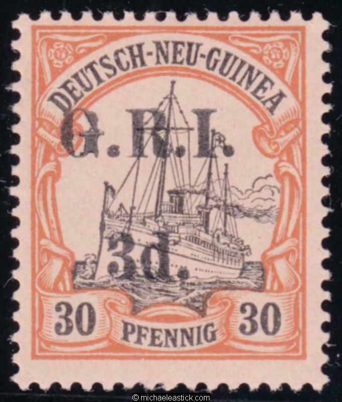 1914 New Guinea 3d on 30pf, overprinted 'G.R.I' , SG 23, MH
