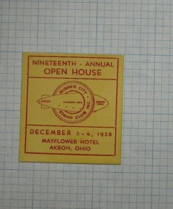 1938 19th Annual OPen House Rubber City Stamp Club Akron OH Souvenir Label Ad
