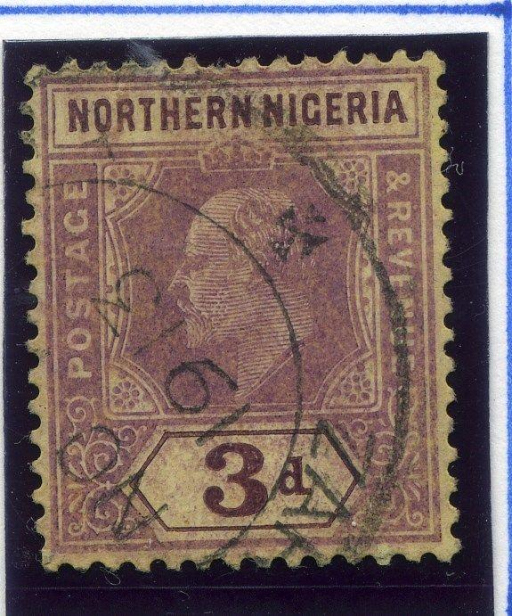 NORTHERN NIGERIA; 1910 early classic Ed VII issue used 3d. value