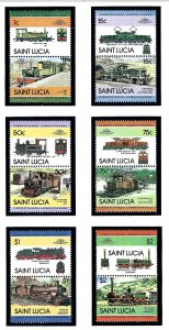 St Lucia 674-79 MNH 1984 Locomotives (KA)