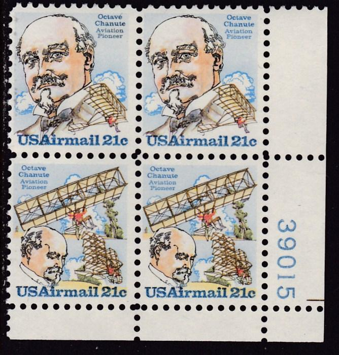 United States 1979 21c Octave Chanute Airmail Plate Number Block of Four VF/NH