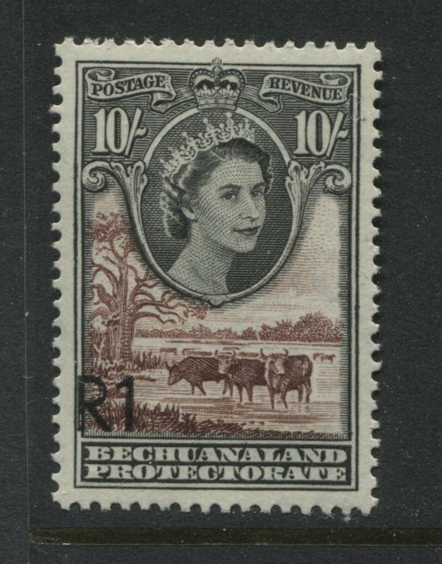 Bechuanaland QEII 1961 10/ overprinted R1 unmounted mint NH