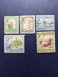 Rhodesia & Nyasaland 158-159,162-163,165 VF, CV $3.25