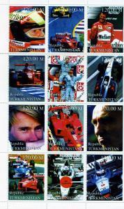 Turkmenistan 1999 Formula 1 Schumacher Sheet (9) Perforated mnh.vf