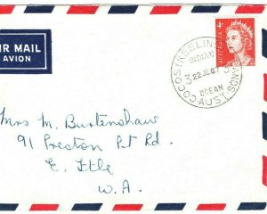 Australia COCOS KEELING ISLANDS Air Mail Cover 1967 {samwells-covers}GR6