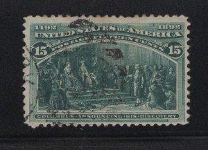 US Stamp Scott #238 Used SCV $72.50