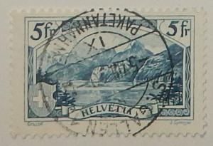 Switzerland 206. 1928 5Fr Blue Rutli, used
