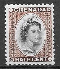 Grenada 1954 Queen Elizabeth 1 2 Cent Mint Never Hinged