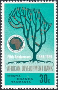Kenya-Uganda-Tanzania # 205 mnh ~ 30¢ Tree, Bank Emblem