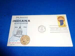 FLEUGEL MULTI COLORED CACHET FDC:  US SCOTT#  1308