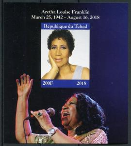 Chad 2018 MNH Aretha Louise Franklin 1v IMPF M/S Music Celebrities People Stamps