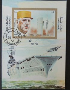 SHARJAH 1972 De Gaulle space VFU flat tops naval miltaria