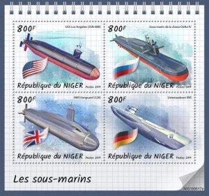 NIGER - 2019 - Submarines - Perf 4v Sheet - MNH